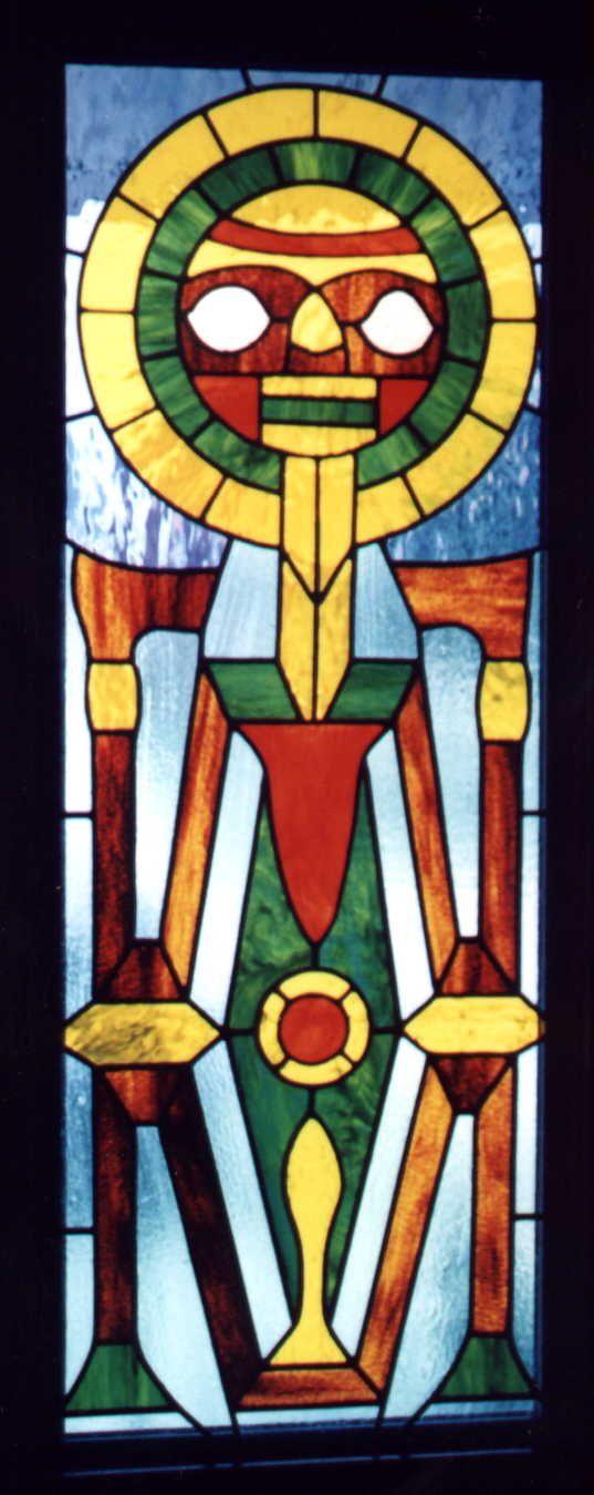 Inti, Inca Sun God stained glass art