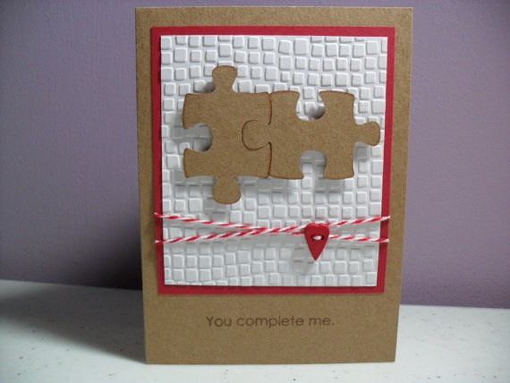 Handmade Anniversary Card  Puzzle Pieces  You by GGgreetings, $3.25