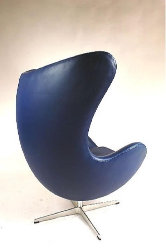 Blauer Dänischer Egg Stuhl von Arne Jacobsen für Fritz Hansen, 1950er 2