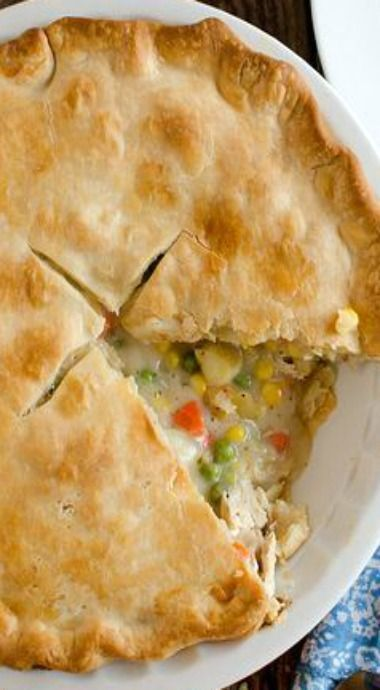 chicken pot pie - just chicken. Used 1/2c flour and extra chicken stock. Full onion. Rotisserie chicken and drippings in with stock. Two pans wth favorite frozen crust, took crust out and put on top. Careful with salt.