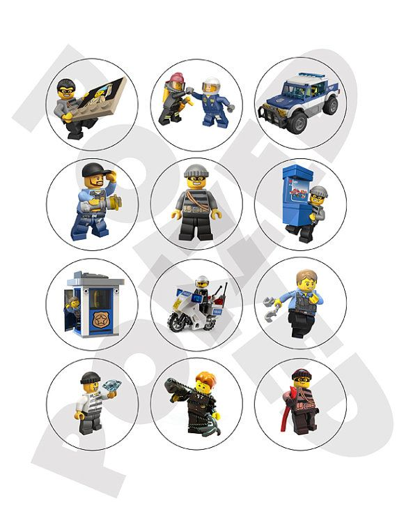 Lego City Police Cupcake Toppers #1