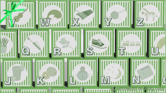Digital baby ABC blocks Green Printable alphabet by ArcDeGra