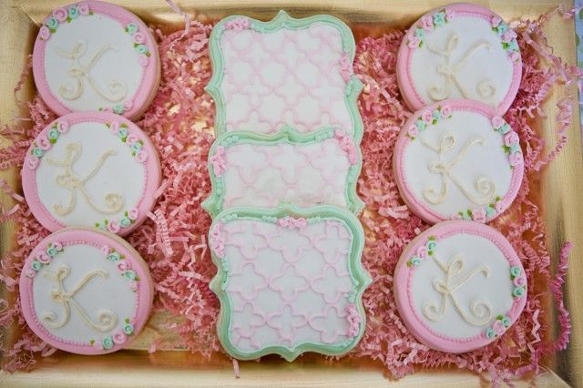 Baptism Dessert Social styled by Jen Carver, Banner Events.  Cookies by Sugar Sweets.