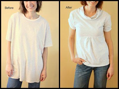 6 best ways to upcycle, repurpose t-shirts with ruffles, fabric yo-yo, custom print and ribbon ties.