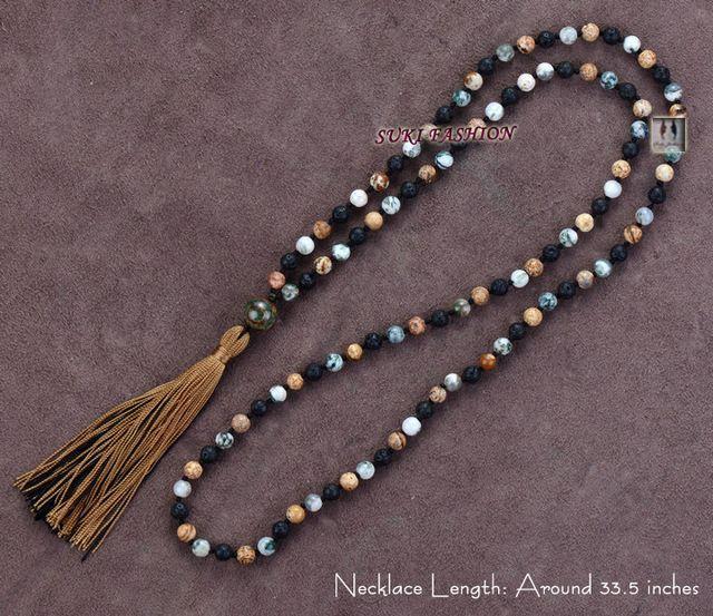 Exclusive mixte lave pierres et Japser avec Tribal Agate collier pendentif Long gland main Volcano femmes collier grossiste