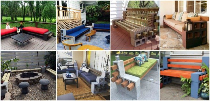 • Page 2 of 2 Cement or cinder blocks can be repurposed in numerous ways to create interesting things such as media units, planters or... Amazing cinder block benches!
