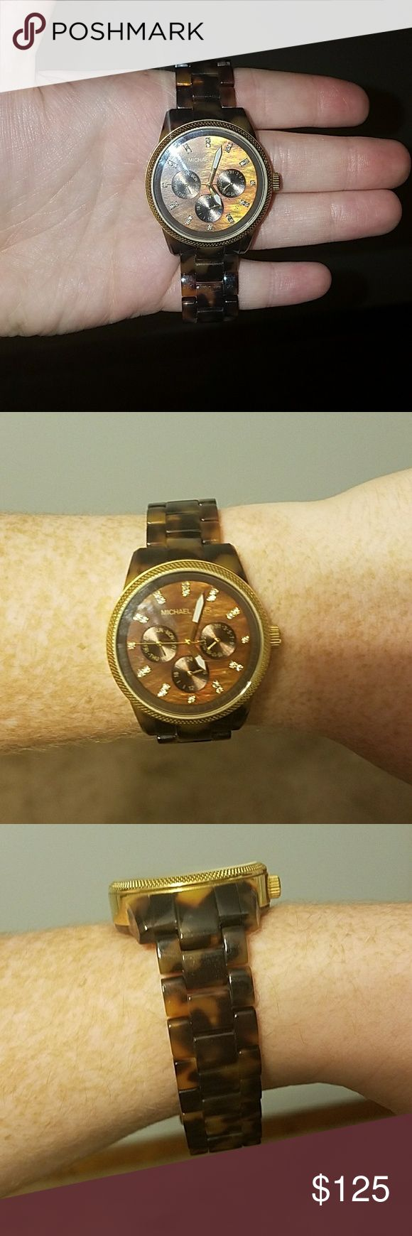 Michael Kors Tortoise Shell Watch Needs a new battery and has minimal scratch on face. Worn only a handful of times. I do not have original box. No links have been removed. Michael Kors Accessories Watches