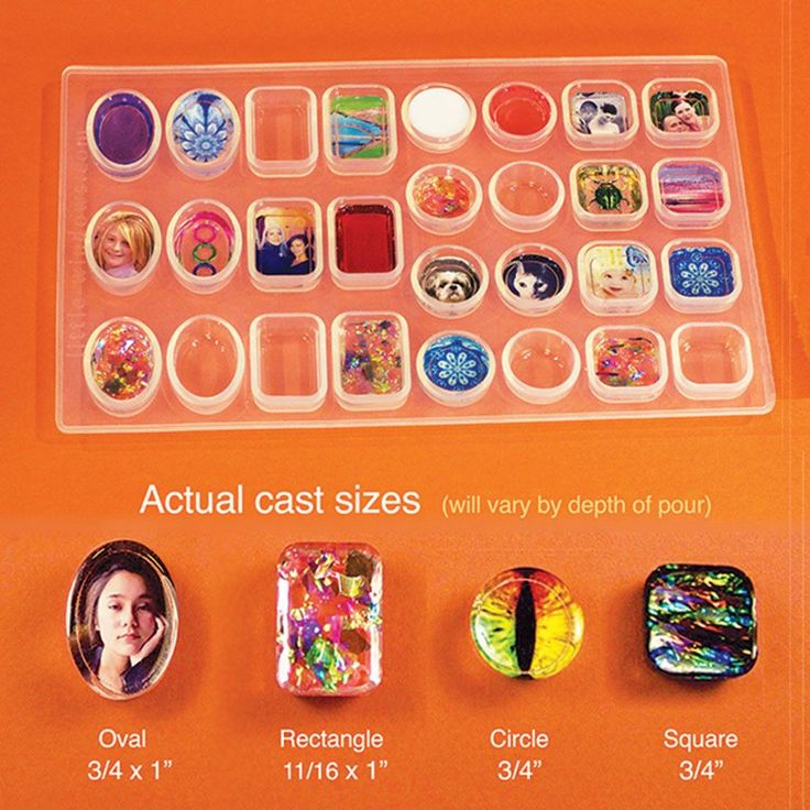 """Includes 4 shapes, plus a cropping template. Actual mold is clear, as in first photo. The Square and Circle Molds (about 3/4""""), each have 8 cavities, Rectangle and Oval Molds (about 3/4"""" x 1""""), each h"""