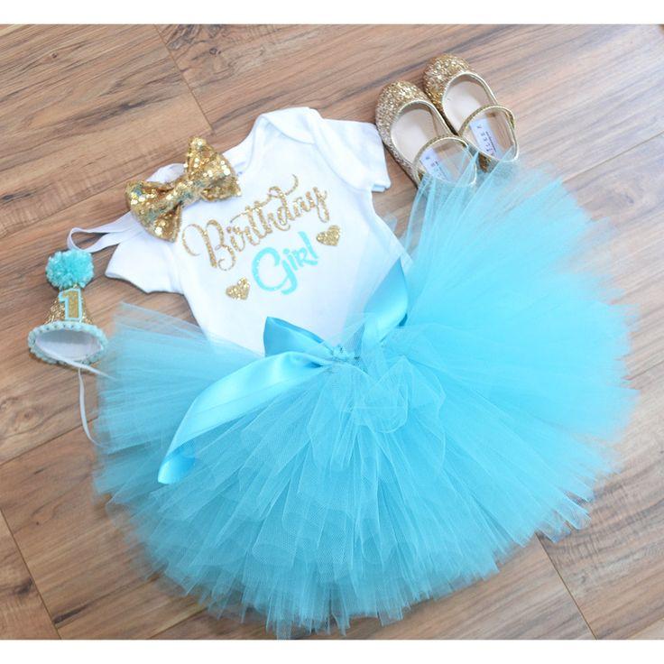 Aqua / teal  tutu first birthday outfit, aqua dress, birthday girl, flower girl, cake smash outfit, aqua gold dress, princess dress. by GabyRobbinsDesigns on Etsy