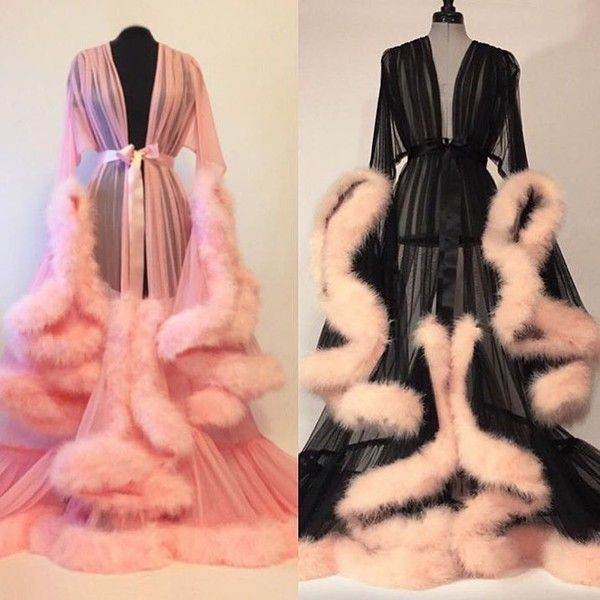 blouse pajamas nightie fluffy flowing elegant robe fluffy satin silk sheer sleep robe vintage dressing gown dramatic feathers dress lingerie nightwear jacket long sleeves black pink fur full length belt High waisted shorts