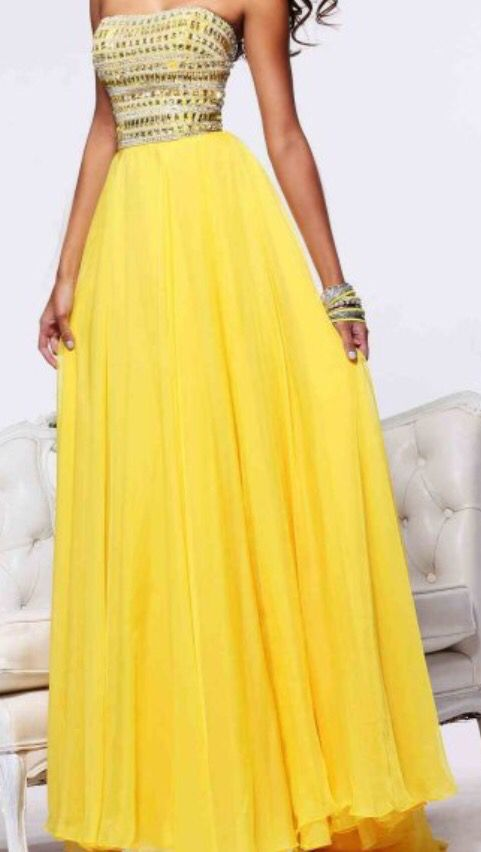 Yellow long dress with white and yellow jeweled boddes and straight  neckline. Yellow Prom DressesSherri Hill ...