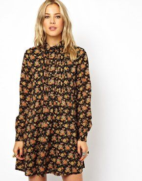 ASOS Shirt Dress In Winter Floral Print, very french chic - ideal for winter with a beret and thick tights :)