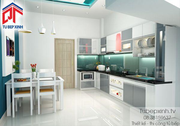 Mẫu tủ bếp gỗ TB020G.  Với những không gian gia đình nhỏ thì việc thiết kế tủ bếp hình chữ I giúp cho căn hộ của bạn thêm rộng nhưng vẫn đầy đủ công năng của một tủ bếp hiện đại và việc sắp xếp các vật dụng, đồ dùng thêm gọn gàng.