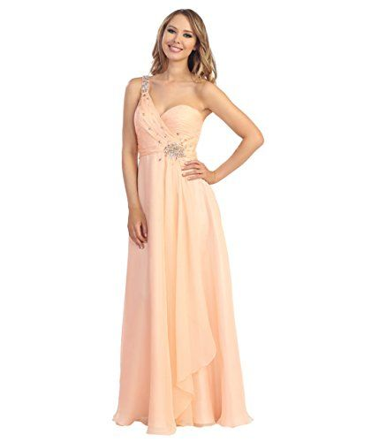 Peach Chiffon Beaded Sweetheart One Shoulder Gown 2015 Prom Dresses ** You can find more details by visiting the image link.