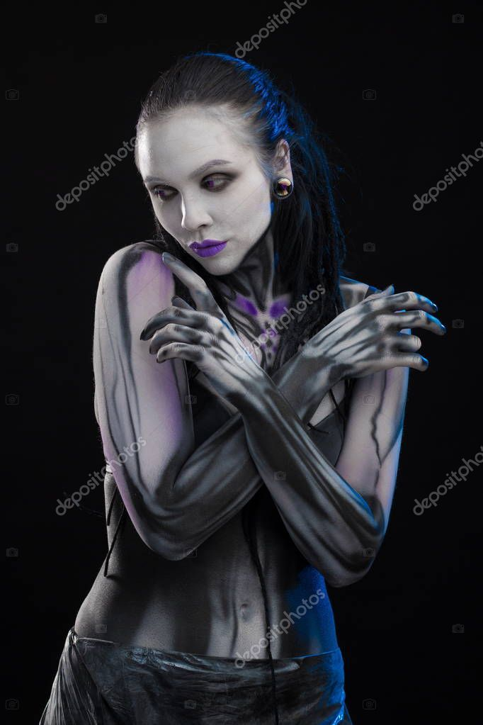 Character Computer Game Body Painting Cyborg Woman Pattern ...