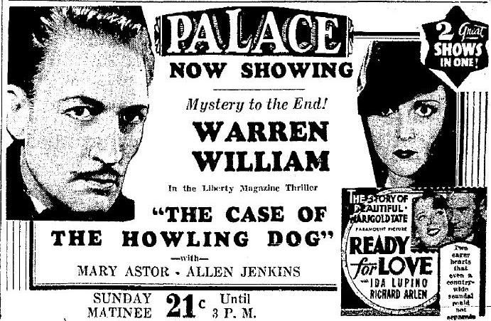 Warren William in The Case of the Howling Dog (1934).  British newspaper ad.