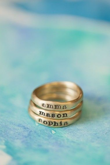 {Mothers Rings} Personalized Stacking Rings by Lisa Leonard! Custom made & full of meaning. Hand-molded and cast in 10k gold, these rings have a beautiful organic shape and feel. Each ring has a hammered texture. Customize your ring with a Childs name and stack them up !