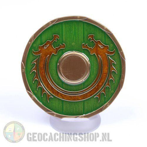 Viking Dragon Shield Geocoin - RE - Idun