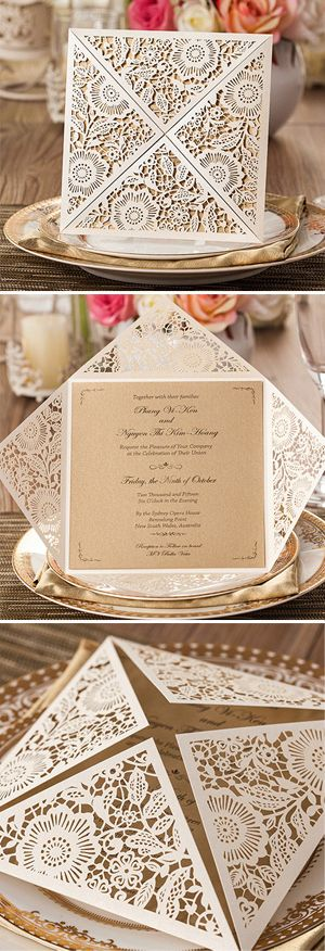 rustic elegance laser cut pocket wedding invitations