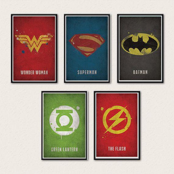 Justice League Poster Series - Superman, Batman, Wonder Woman, Green Lantern, Flash via Etsy