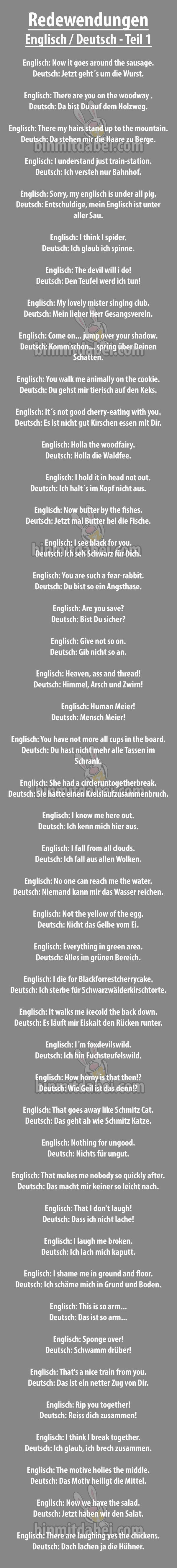 Übersetzung deutscher Sprichwörter ins Englische...