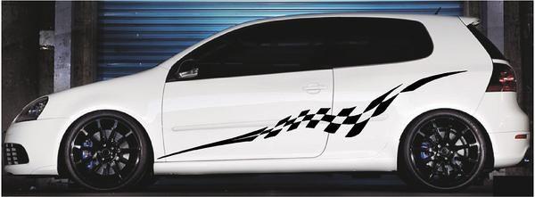 Checkered Flag Stripes Car