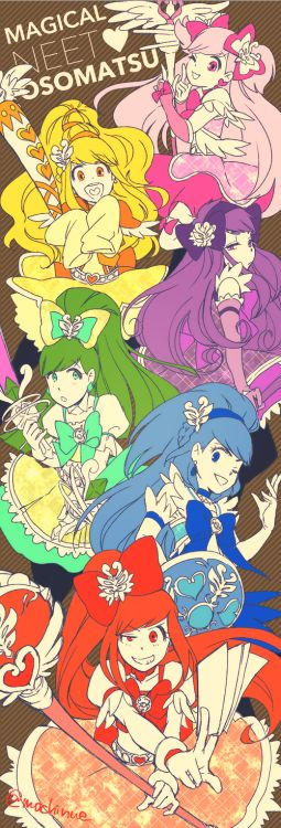 In Hesokuri Wars, there was a mahou shoujo-themed event entitled Magical NEET Osomatsu-chan, and as the title suggests, it featured the sextuplets as magical girls (notice how all of their outfits were based on PreCure!)