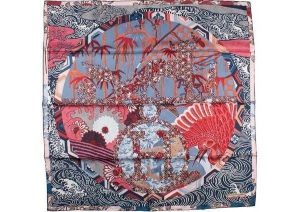 "Hermes ""Ex Libris en Kimono"" 90 cm Silk Scarf by Anamorphee"