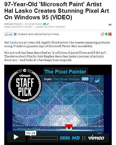 97-Year-Old 'Microsoft Paint' Artist Hal Lasko Creates Stunning Pixel Art On Windows 95 (VIDEO)