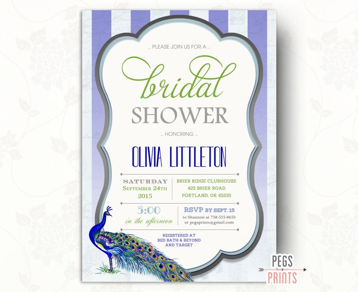 shower themed or wedding invitations peacock new bridal