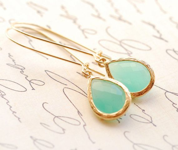 Aqua Mint Earrings Dangle Earrings Bridesmaid Gifts Bridal Jewelry Drop Earrings Jewelry Accessories Bridesmaid Set