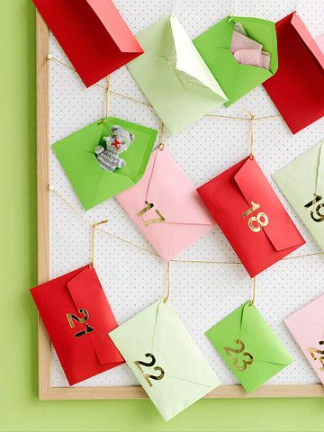 A twist on the classic Advent calendar - try this DIY with envelopes and clothespins this Christmas season: http://www.bhg.com/christmas/crafts/advent-calendars/?socsrc=bhgpin111114carefreecountdown&page=2