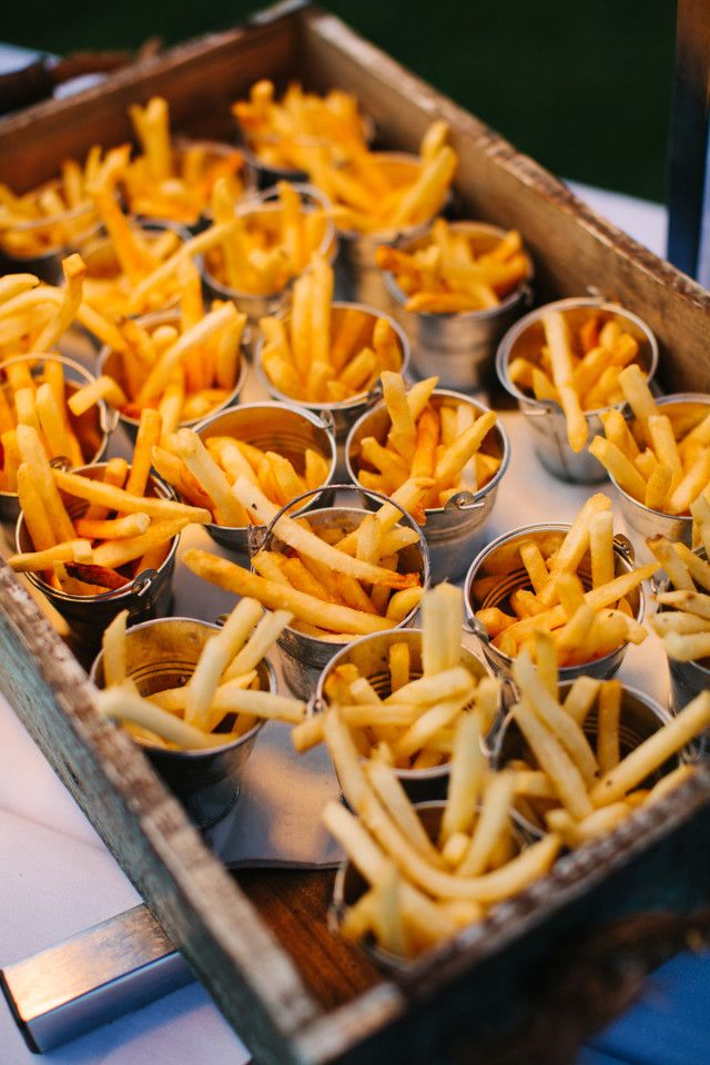 buckets of fries for a beach wedding reception by Townsend Catering / photo by pure7studios.com