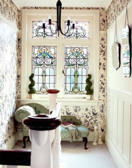 Boudoir.: Dream, Windows Seats, Interiors, Stains Glasses Windows, Decoration Idea, Reading Nooks, House, Design, Stained Glass