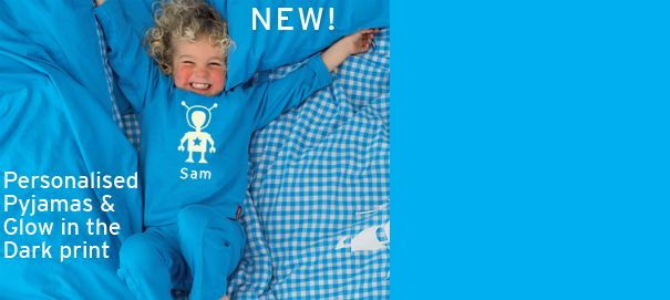 Personalised Pyjamas - 100s of colour combinations - pick your picture, writing, font and we will do the rest. Also available in glow in dark!