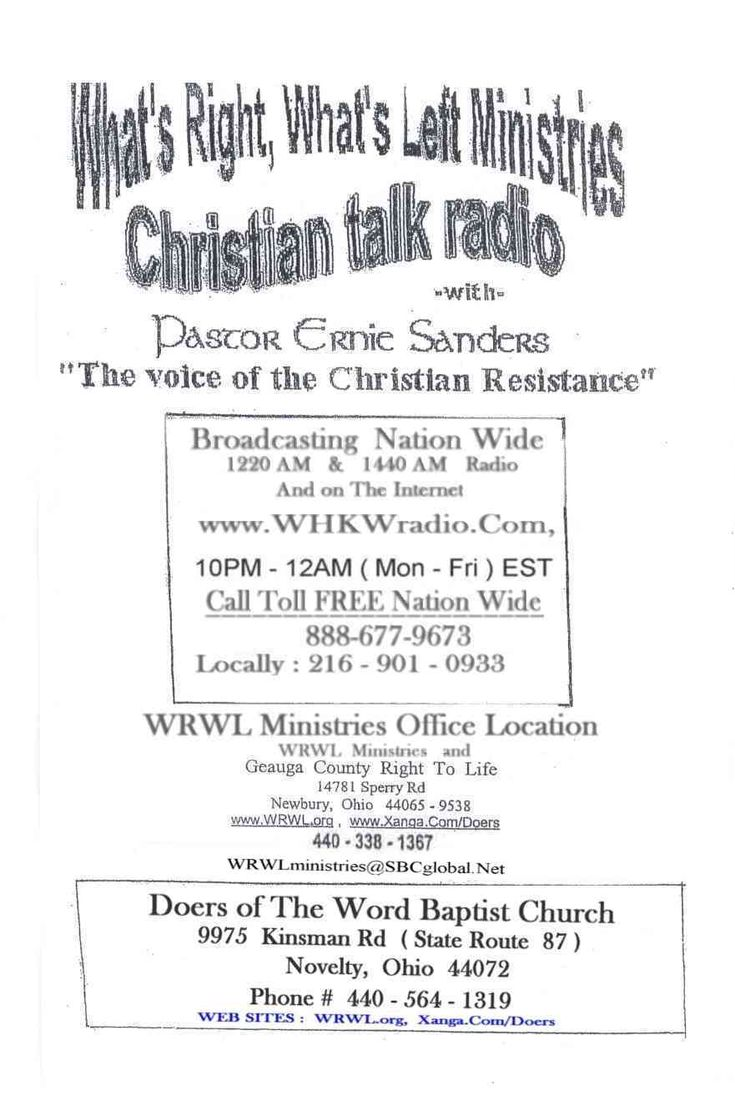 Sanctity of Human Life,Population Reduction…Pastor Fred Hague (Sun 1-20-2013)-This is a wonderful sermon by a genuine Christian activist pro-life pastor, + info on March for Life 2013, + info & links 2 another pro-life pastor whose been on the air for over 40-years, Pastor Ernie Sanders, who devoted his life to saving babies from the horror of abortion & ministering to mother's who are victims of aborting their preborn.U don't want to miss this video! It's outstanding! - Watchwoman on the…