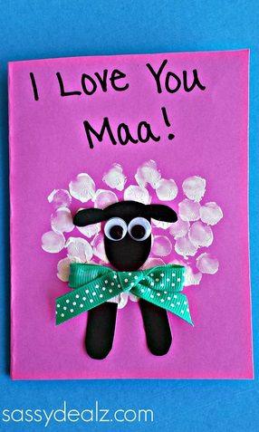 Fingerprint Sheep Mother's Day Card Idea - Sassy Dealz