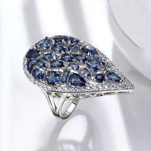 Anillo de Dedo de la Forma de Gota de Agua grande de Champán Rojo Azul Verde Colores blanco Cristalino de la CZ Zirconia anel Anillos para las mujeres de Moda joyería(China (Mainland))