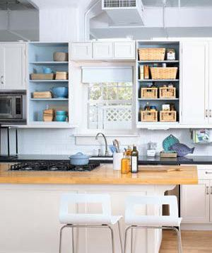 24 Smart Organizing Ideas for Your Kitchen    Introduce Baskets  Keep open shelves uncluttered by stashing items in airy rattan baskets.