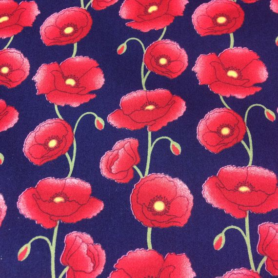 Red Poppies Print Fabric Navy background Cotton