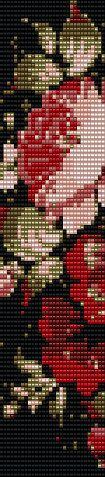 Pink rose cuff beading loom pattern by EyeCandybyJBWeb on Etsy