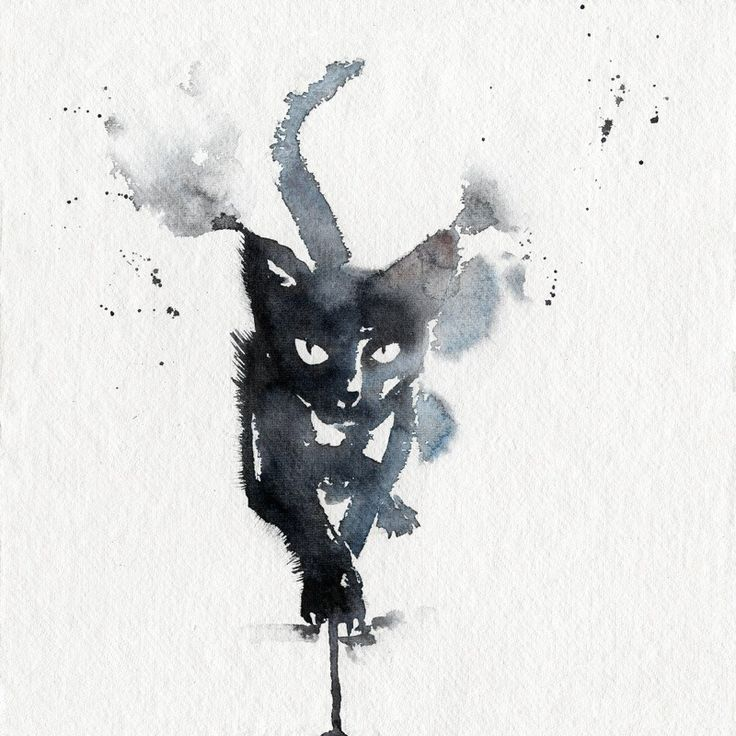 Black cat in watercolour.  High quality reproductions of my original paintings.  I spent a lot of time finding the perfect printer to handle my drawings. Years of experience, fast and professional. After a thorough touch up of the digital image, to ensure the best rendering, each copy is printed as if it was a the first and last.  Once printed, it is mounted under an off-white mat board, 45 cut.