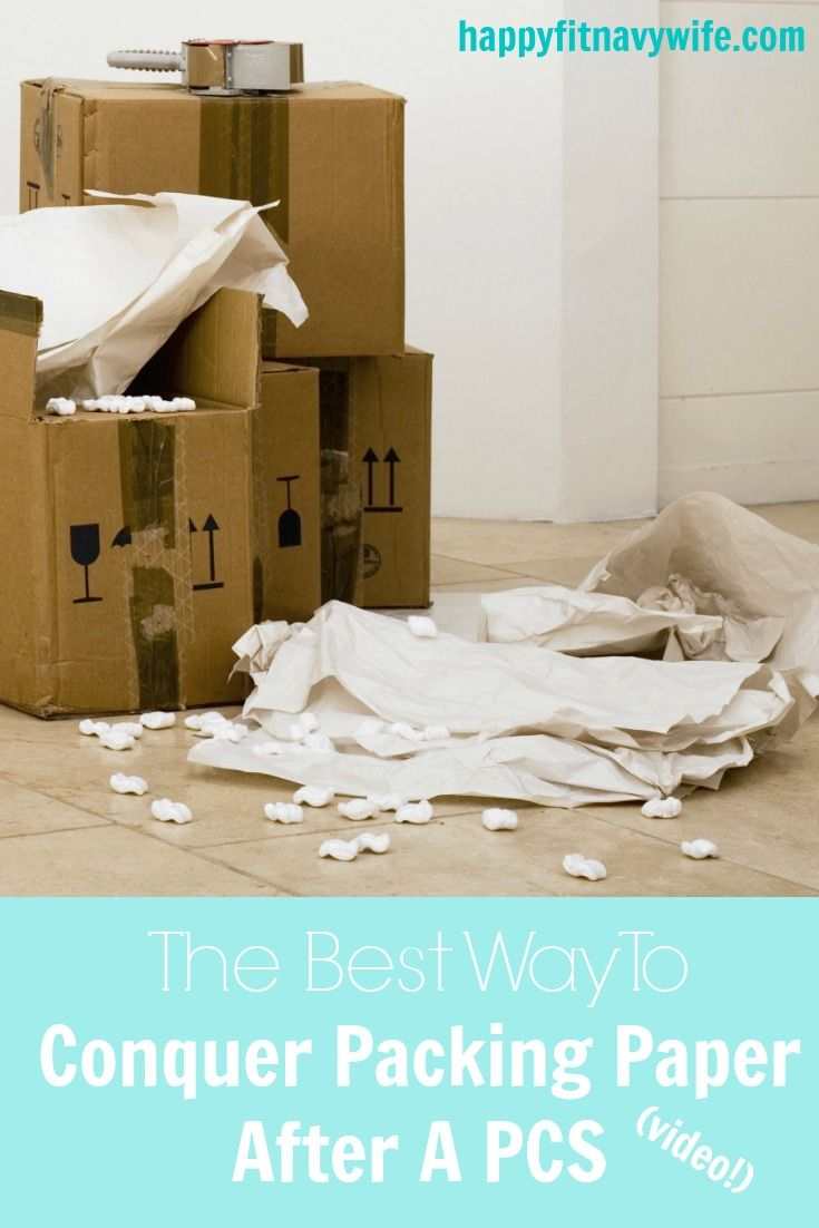 """The best way to conquer packing paper after a PCS (with video)"" by Heather of Happyfitnavywife.com 