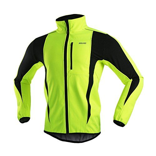 Discounted ARSUXEO Winter Warm UP Thermal Softshell Cycling Jacket Windproof Waterproof Bicycle MTB Mountain Bike Clothes 15-K Green Size XX-Large