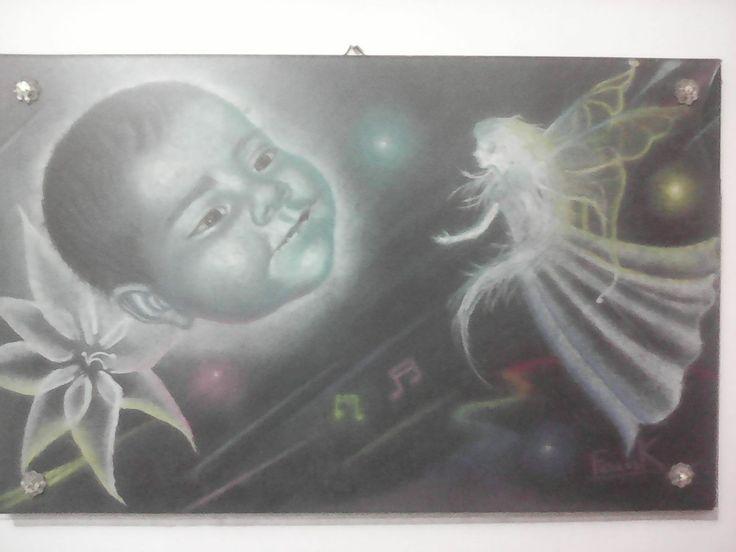 Pastel sobre MDF Retrato de mi hija Por Frank Jimenez