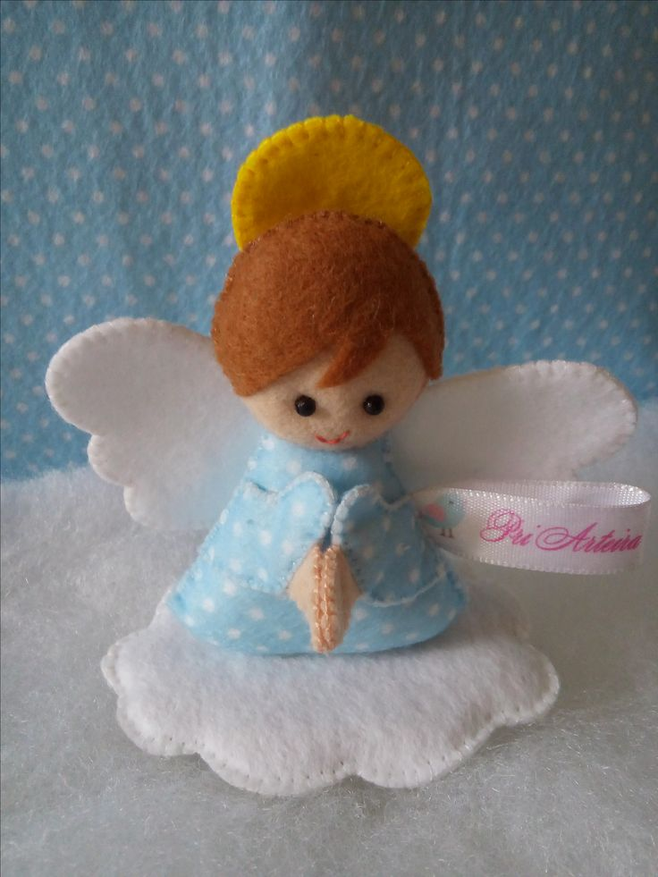 Lembrancinha em feltro de anjinho para batizado em feltro personalizado para menino e menina