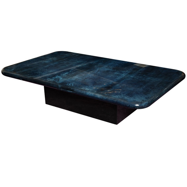 Aldo Aldo Tura blue coffee table Italy Circa 1970's Very large and extraordinary coffee table by Aldo Tura, blue parchment varnish. blue coffee table