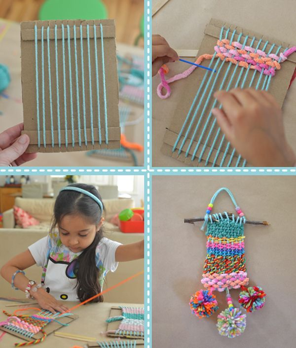 Cardboard and wool weaving with kids - wow project for 5-7yr olds with @barrucci
