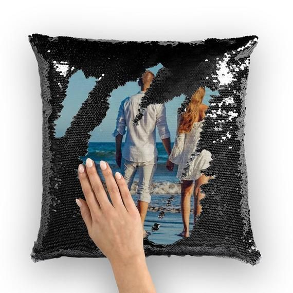 Personalized Reversible Sequin Pillow Custom Photo Cushion Pillow Cover Mermaid Sequins Hidden Message Pillow Anniversary Photo Gifts Kids Sequin Pillow Photo Pillows Cushion Pillow Covers