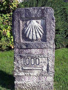 Borne des mille kilomètres à Moustey (Landes) sur la via Turonensis.